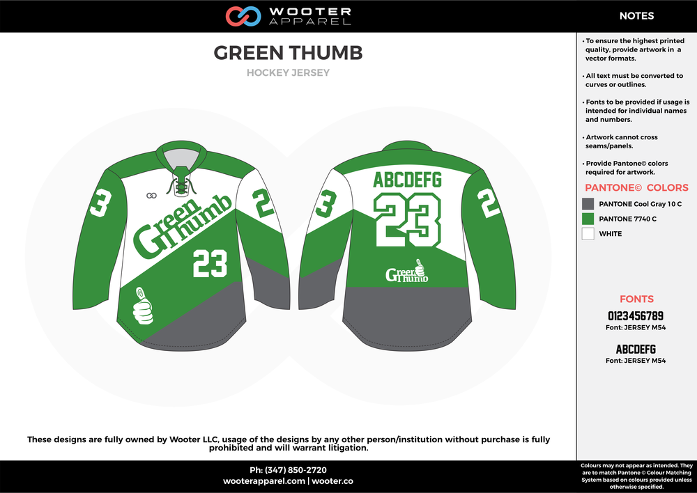 GREEN THUMB green gray white hockey uniforms jerseys