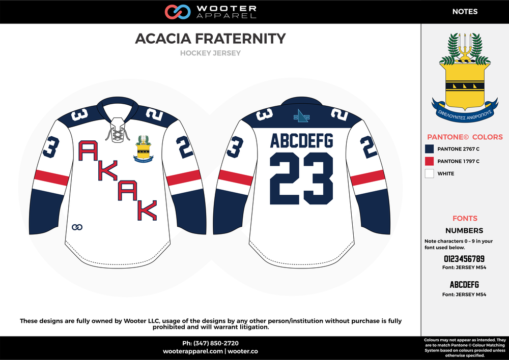 ACACIA FRATERNITY blue red white hockey uniforms jerseys