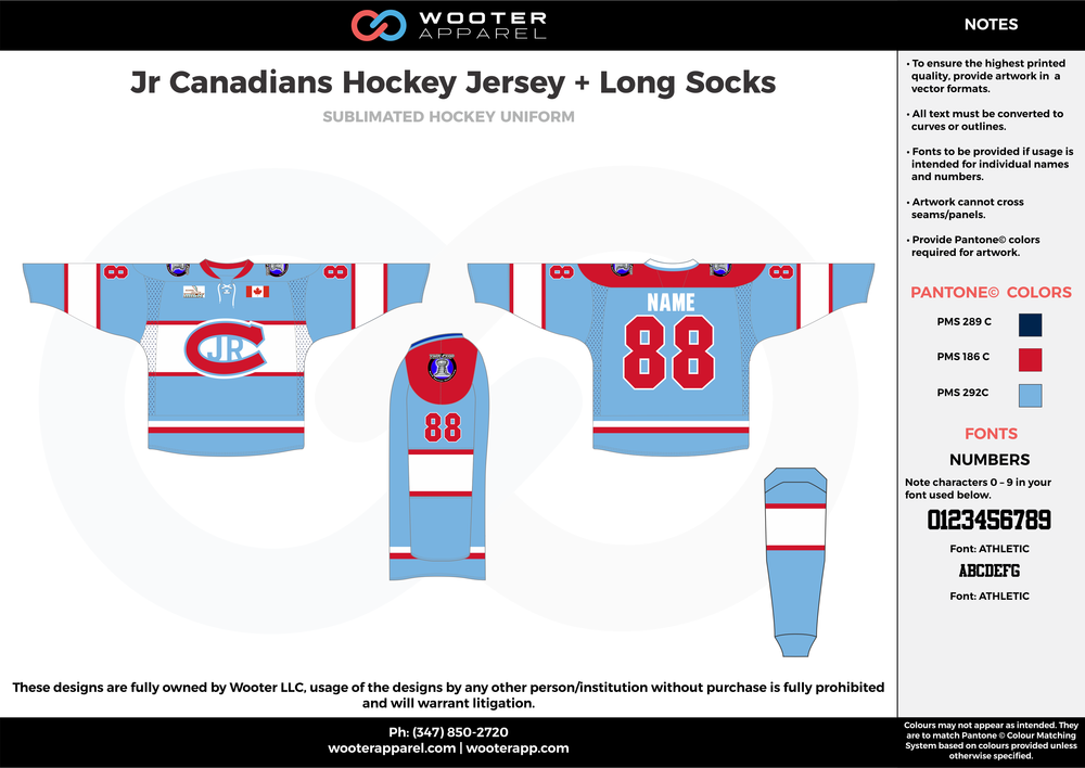 Jr. Canadians Hockey Jersey + Long Socks blue red navy blue white hockey uniforms jerseys socks