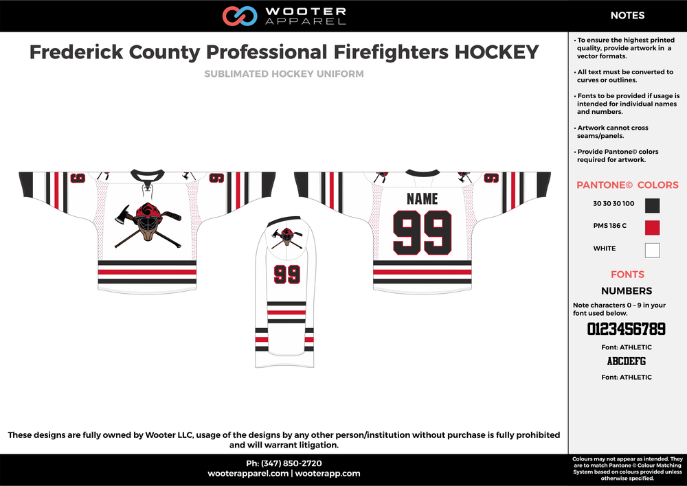Frederick County Professional Firefighters HOCKEY white red black hockey uniforms jerseys socks