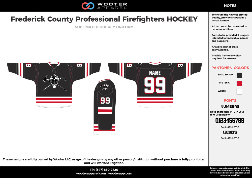 Frederick County Professional Firefighters HOCKEY black red white hockey uniforms jerseys socks