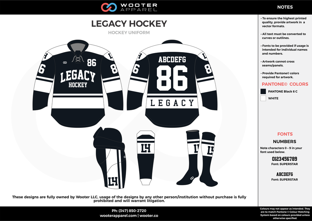 LEGACY HOCKEY black white hockey uniforms jerseys socks