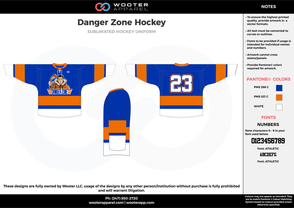 Danger Zone Hockey blue orange white hockey uniforms jerseys socks