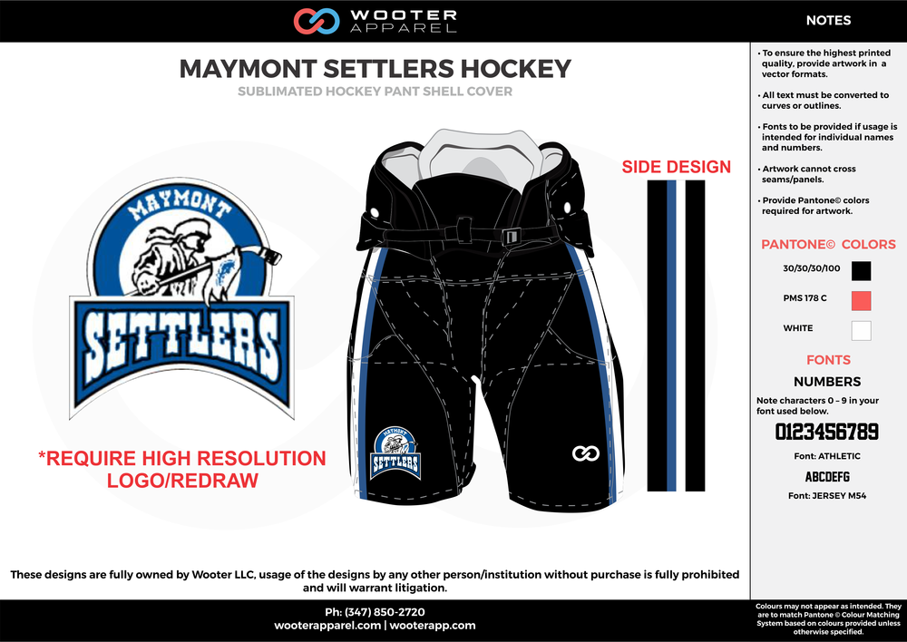 MAYMONT SETTLERS HOCKEY black white orange hockey uniforms jerseys socks
