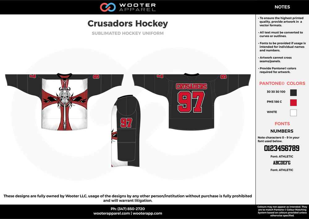 Crusadors Hockey black white red hockey uniforms jerseys socks