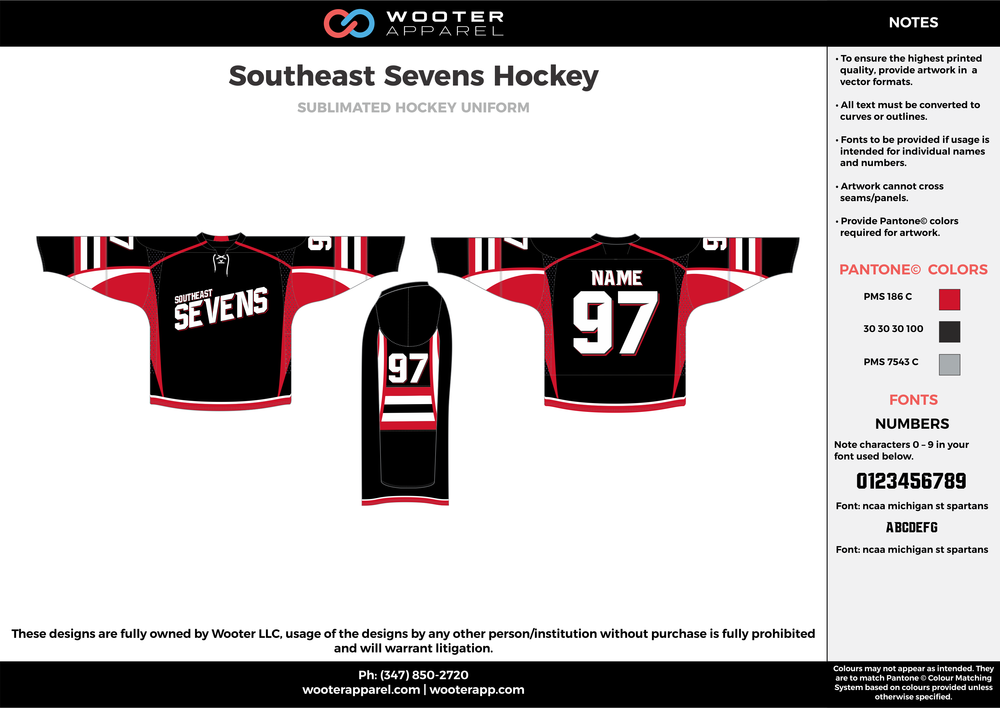 Southeast Sevens Hockey black red white gray hockey uniforms jerseys