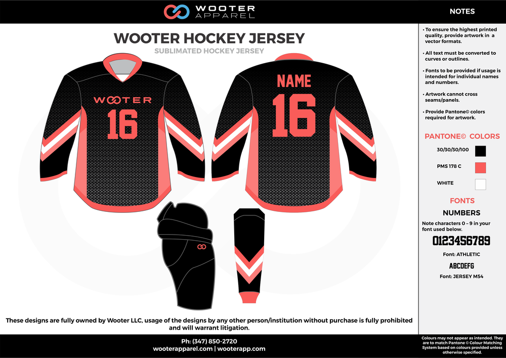 WOOTER HOCKEY JERSEY black red white hockey uniforms jerseys