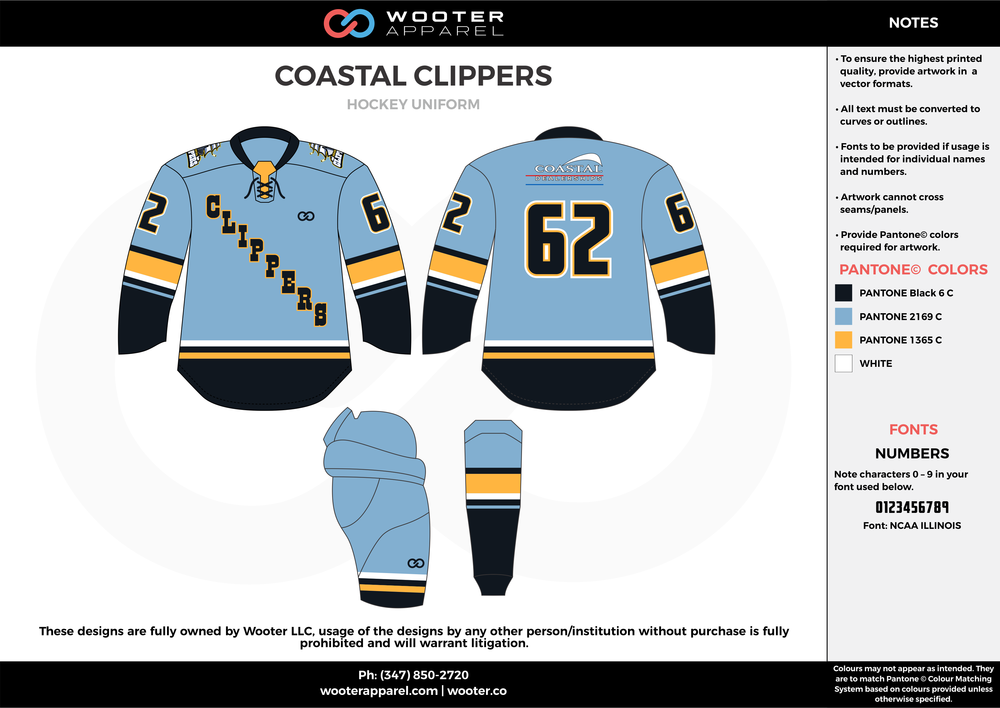 COASTAL CLIPPERS blue yellow black hockey uniforms jerseys
