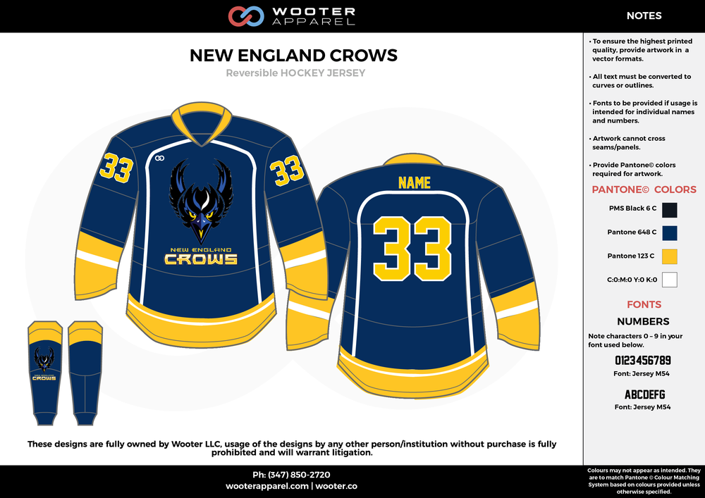 NEW ENGLAND CROWS black blue yellow white hockey uniforms jerseys