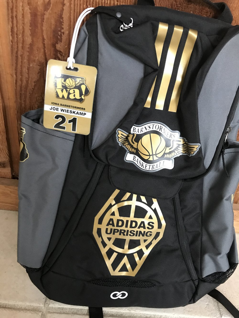 Black Gray Gold and White basketball, baseball, backpacks