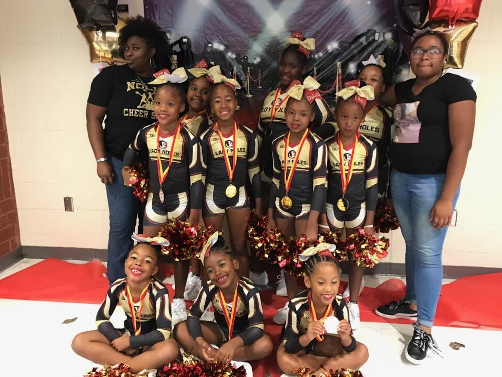 LADY NOLES black gold red white CHEERLEADING jersey, skirt, top, bottom