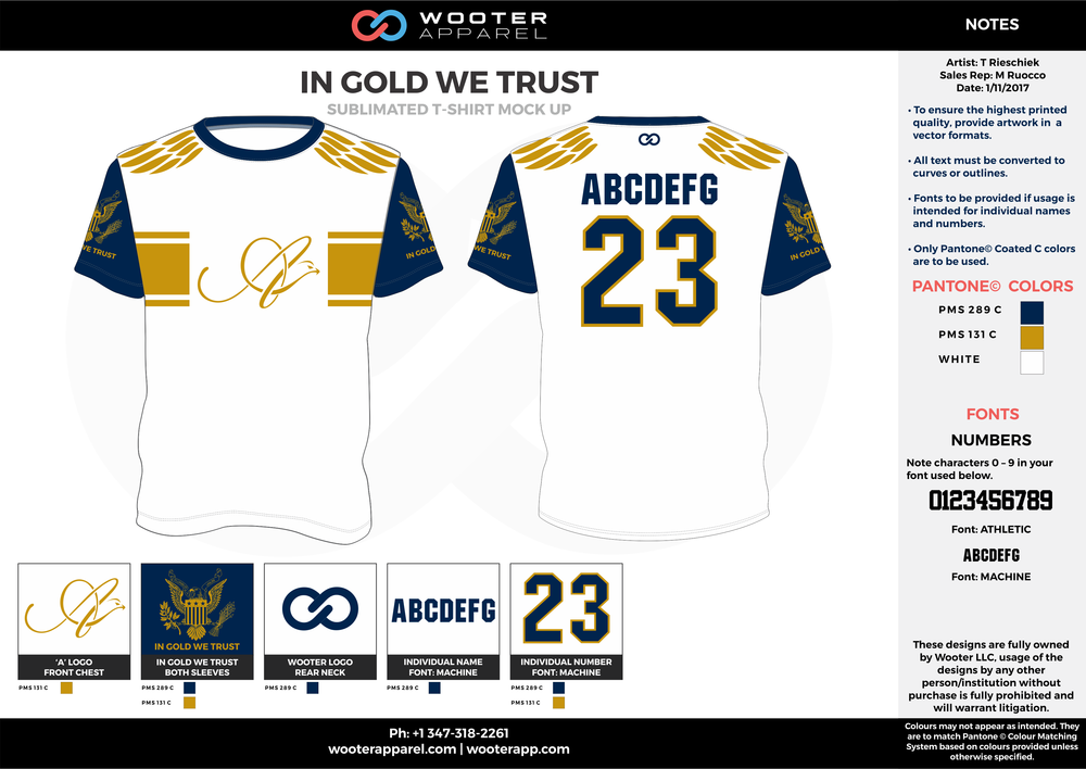 IN GOLD WE TRUST gold navy blue white custom short sleeve shirts