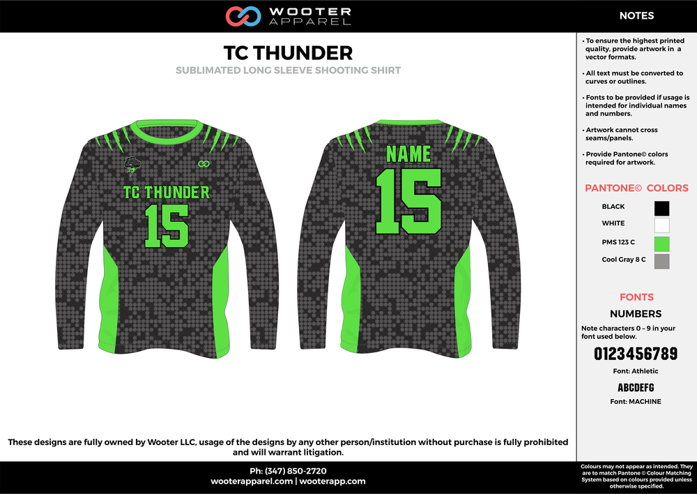 TC THUNDER black green gray custom long sleeve shirts