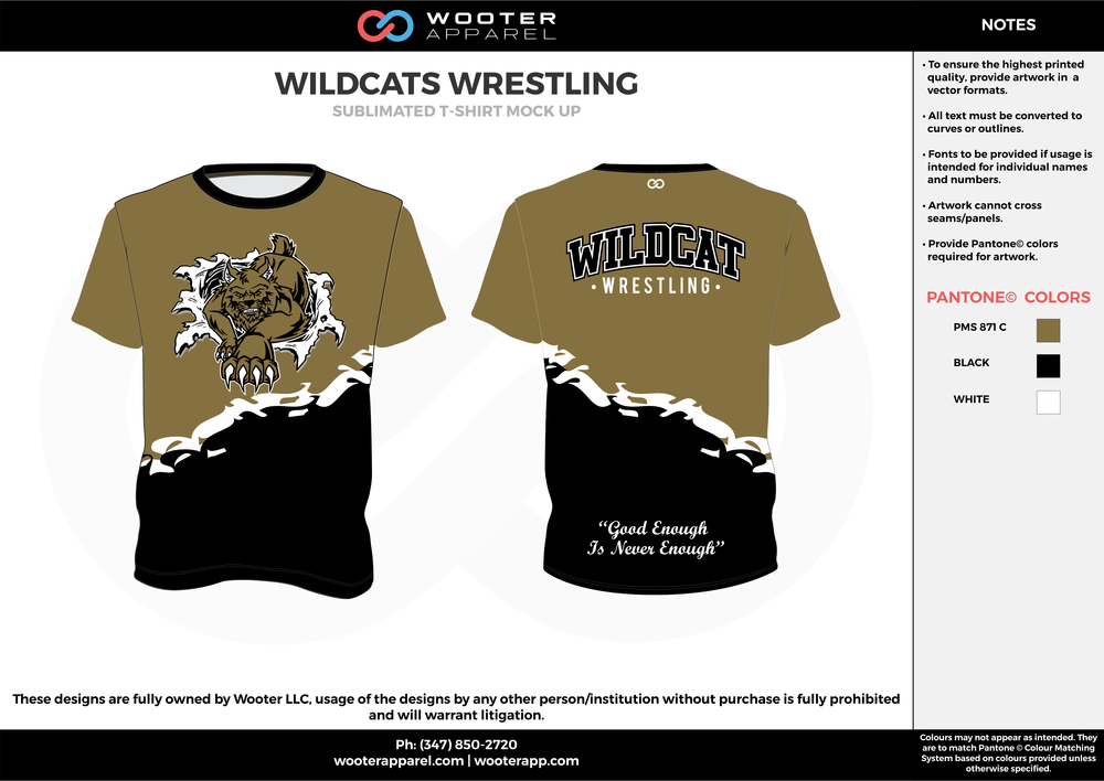WILDCATS WRESTLING beige black white custom short sleeve shirts