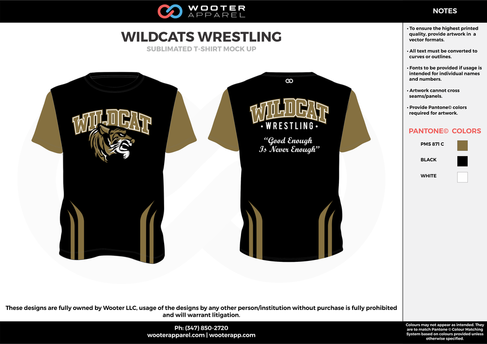 WILDCATS WRESTLING black beige white custom short sleeve shirts