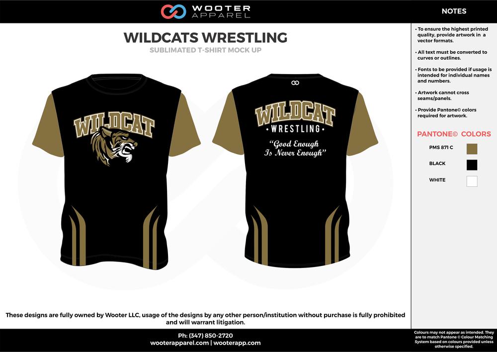 WILDCATS WRESTLING black beige white custom design t-shirts