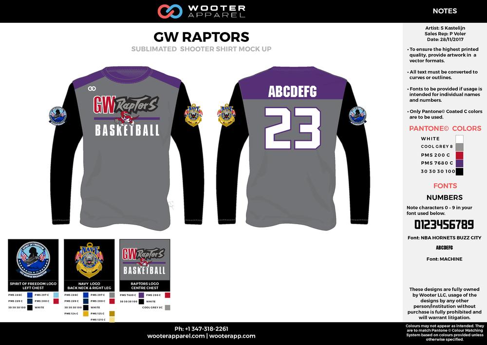 GW RAPTORS purple gray black white red custom design t-shirts