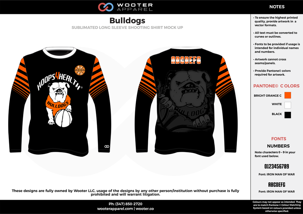 Bulldogs black gray orange white custom long sleeve shirts