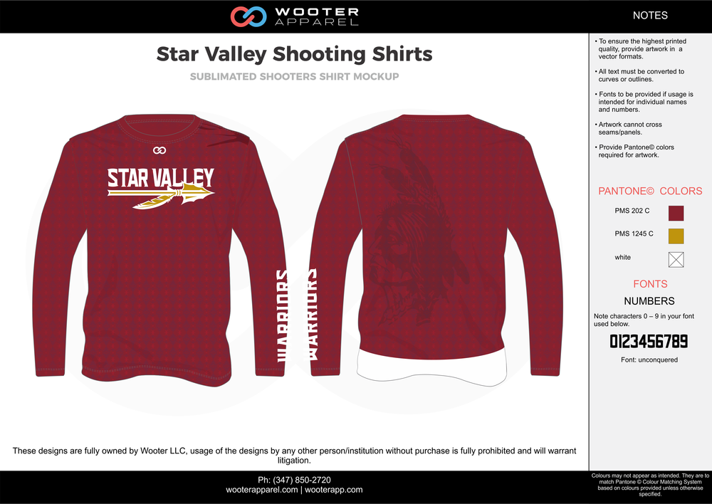 Star Valley Shooting Shirts red white yellow custom long sleeve shirts