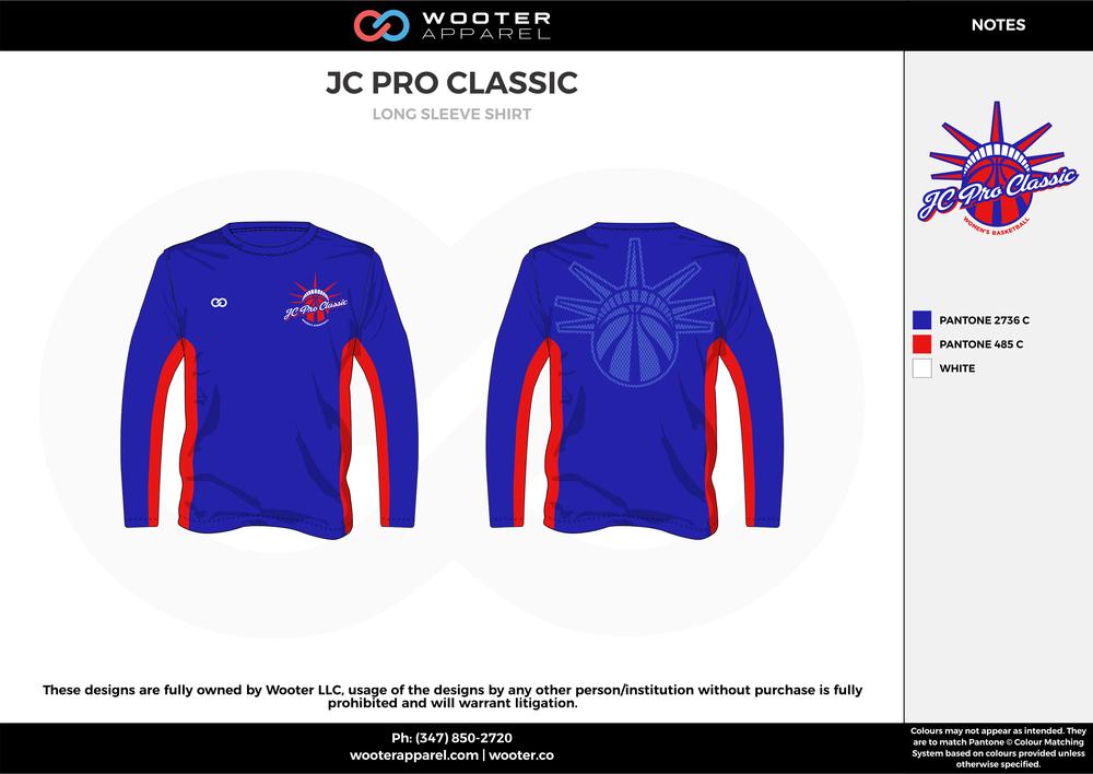 JC PRO CLASSIC blue red gray custom long sleeve shirts