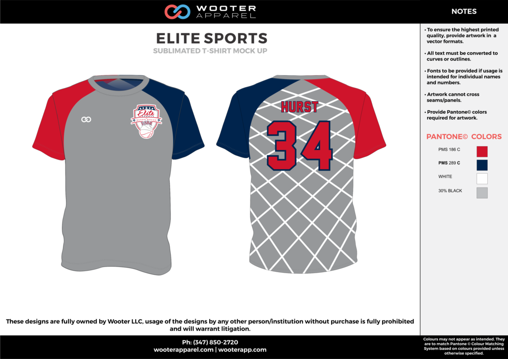 ELITE SPORTS red gray blue white custom design t-shirts