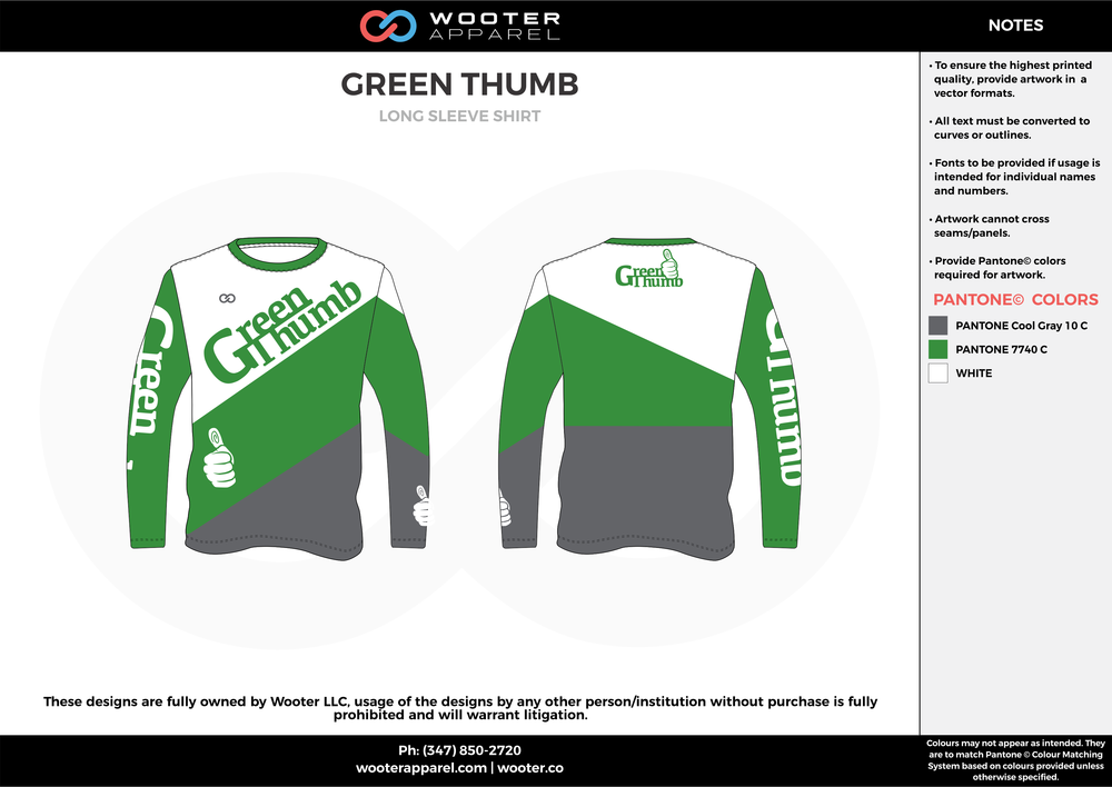 GREEN THUMB green white gray custom long sleeve shirts