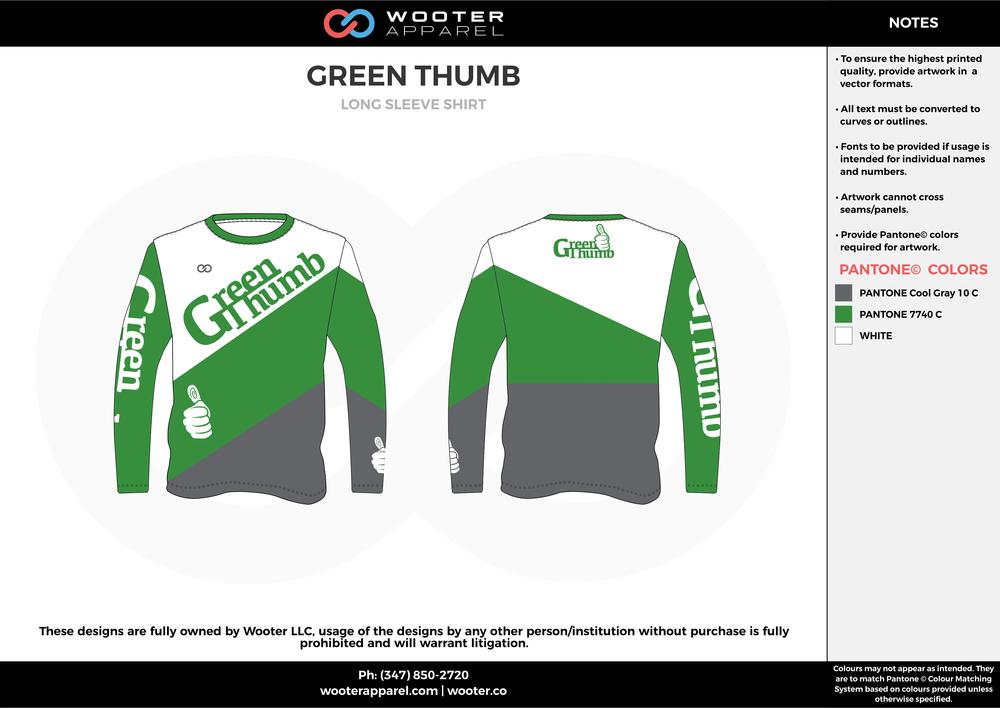 GREEN THUMB green white gray custom design t-shirts