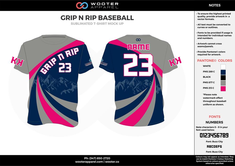 GRIP N RIP BASEBALL cool gray navy blue pink custom design t-shirts