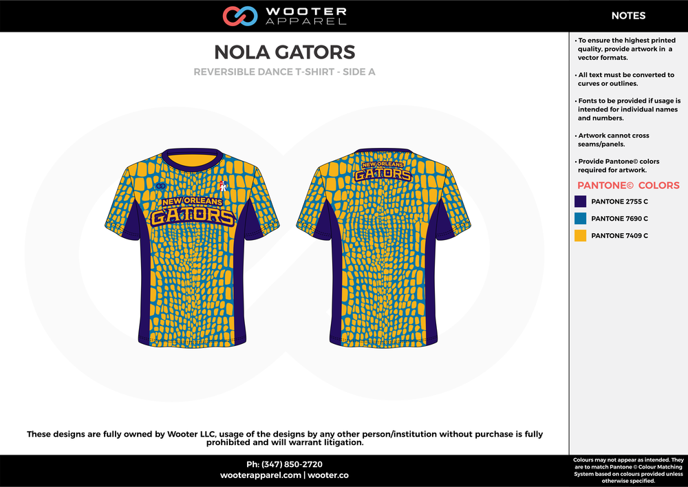 NOLA GATORS  yellow blue purple custom short sleeve shirts