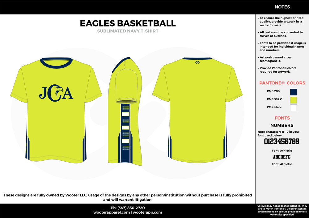EAGLES BASKETBALL lemon lime blue white custom short sleeve shirts