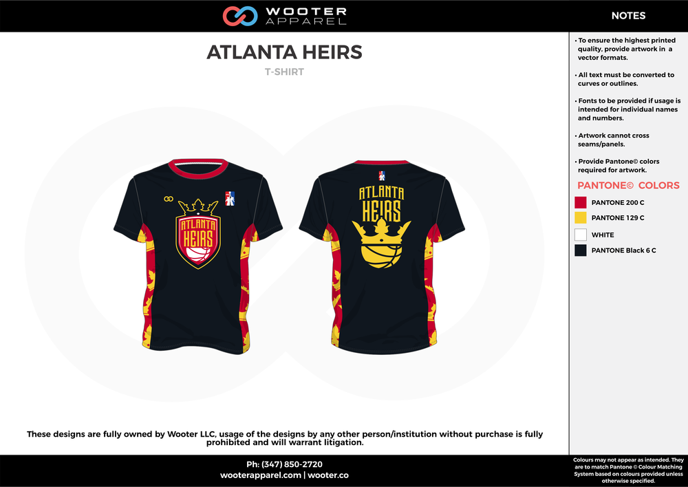 ATLANTA HEIRS red yellow black custom short sleeve shirts
