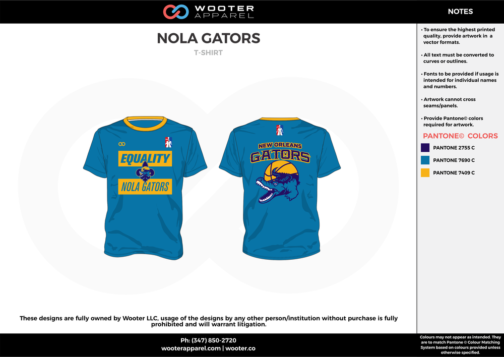 NOLA GATORS blue yellow custom short sleeve shirts
