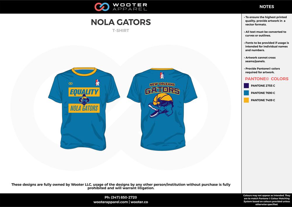 NOLA GATORS blue yellow custom design t-shirts