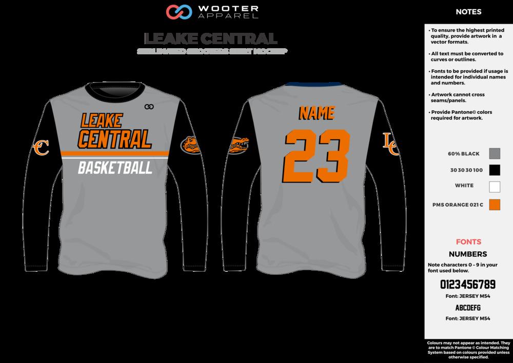 LEAKE CENTRAL cool gray black orange white custom design t-shirts