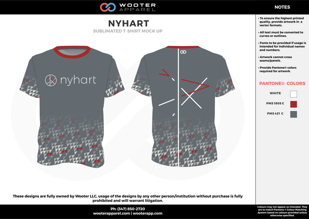 NYHART red cool gray white custom short sleeve shirts