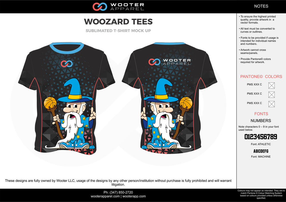 WOOZARD TEES black blue gray yellow white custom short sleeve shirts