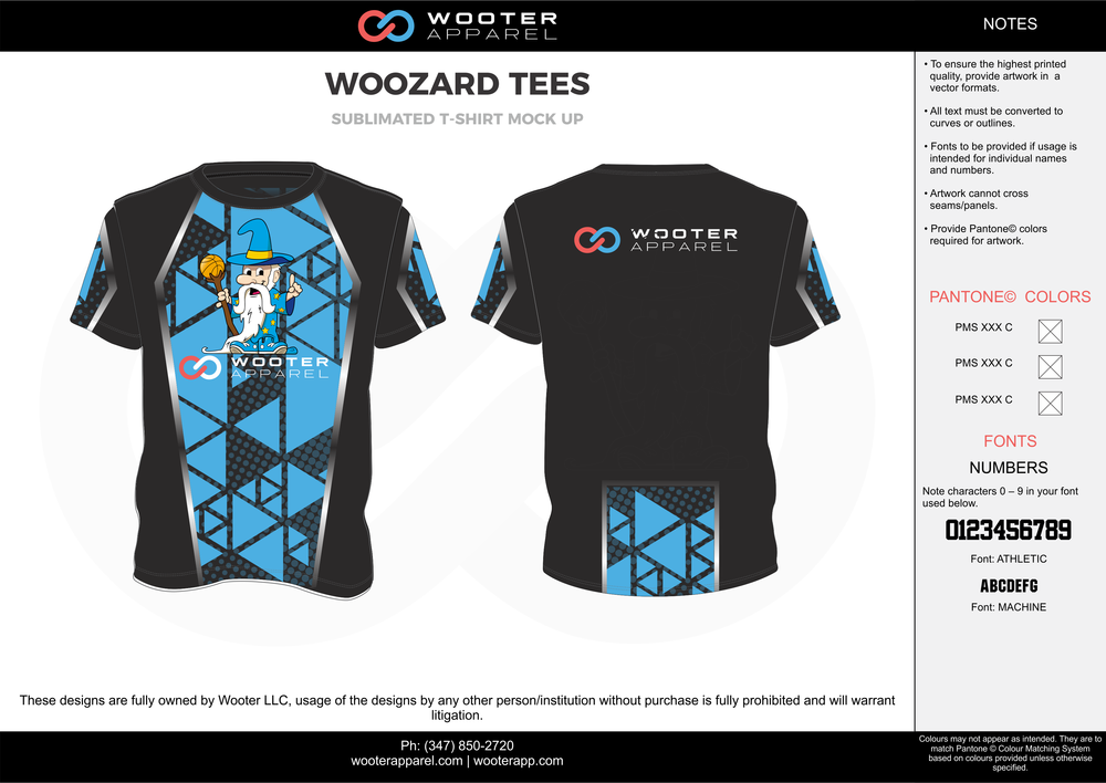 WOOZARD TEES black blue white custom short sleeve shirts