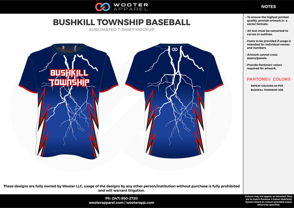 BUSHKILL TOWNSHIP BASEBALL blue red white custom short sleeve shirts