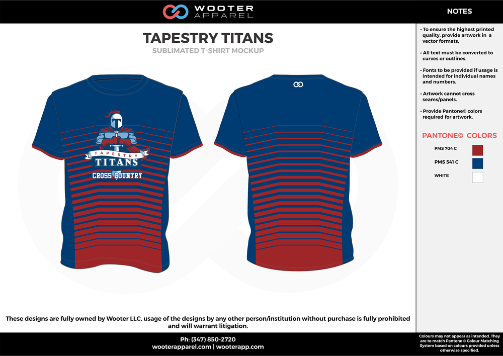 TAPESTRY TITANS blue red white custom short sleeve shirts