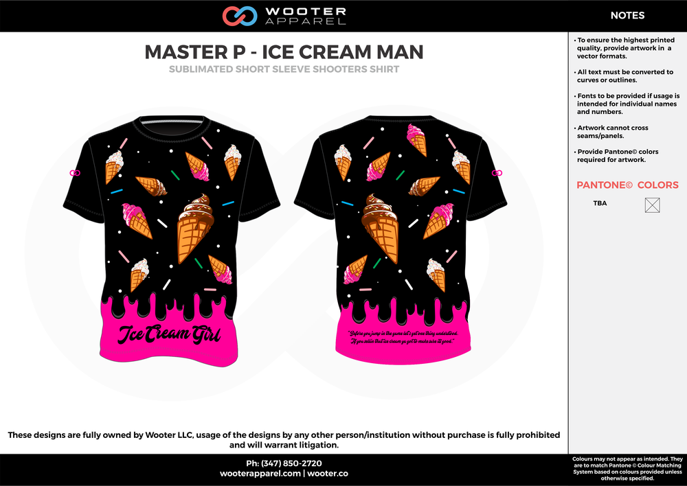 MASTER P - ICE CREAM MAN pink black brown custom short sleeve shirts