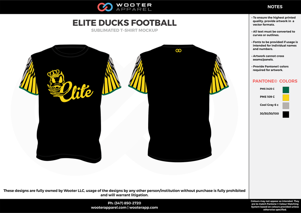 ELITE DUCKS FOOTBALL black yellow gray green custom short sleeve shirts
