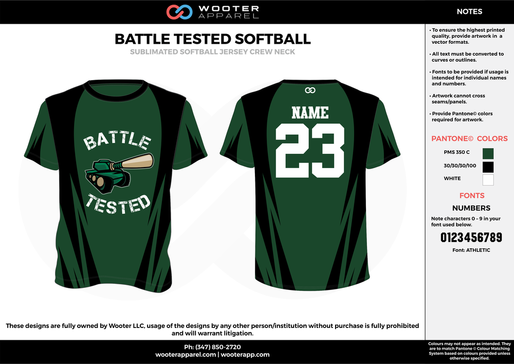 BATTLE TESTED SOFTBALL green white black custom short sleeve shirts