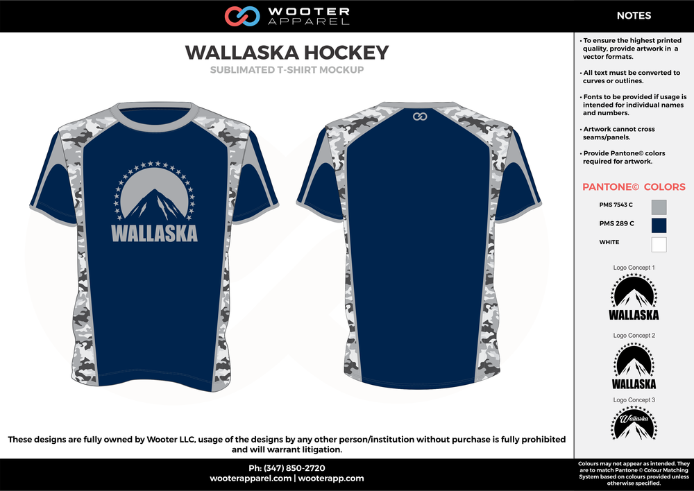 WALLASKA HOCKEY blue gray white custom short sleeve shirts