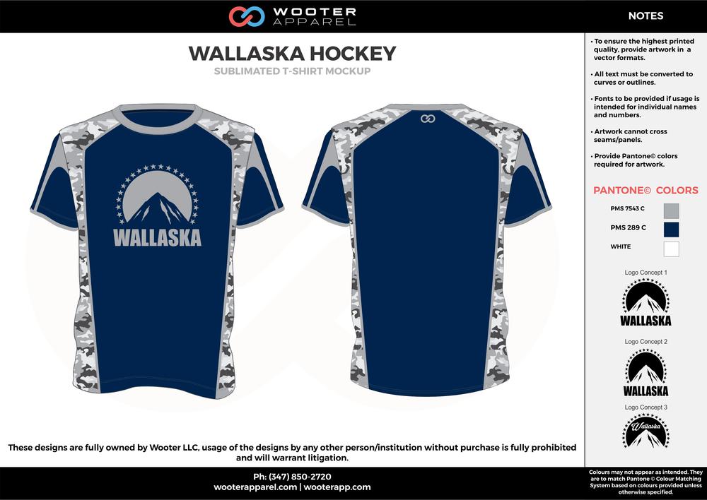 0cbb14bafb4 WALLASKA HOCKEY blue gray white custom design t-shirts