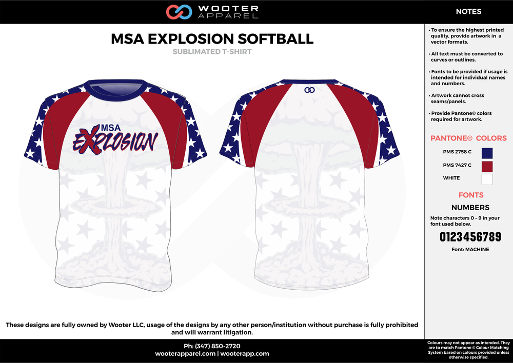 MSA EXPLOSION SOFTBALL red white blue custom short sleeve shirts