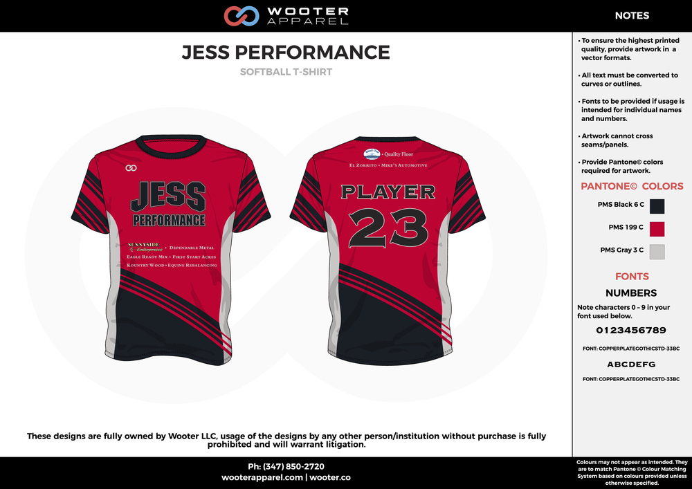JESS PERFORMANCE red black gray custom short sleeve shirts