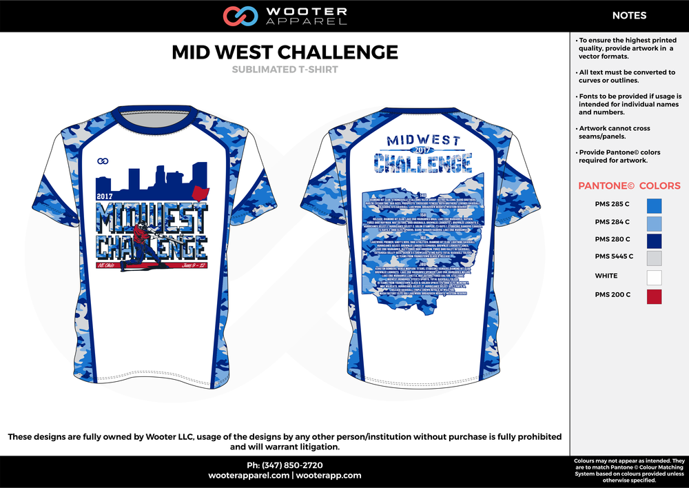 MID WEST CHALLENGE blue white gray red custom short sleeve shirts