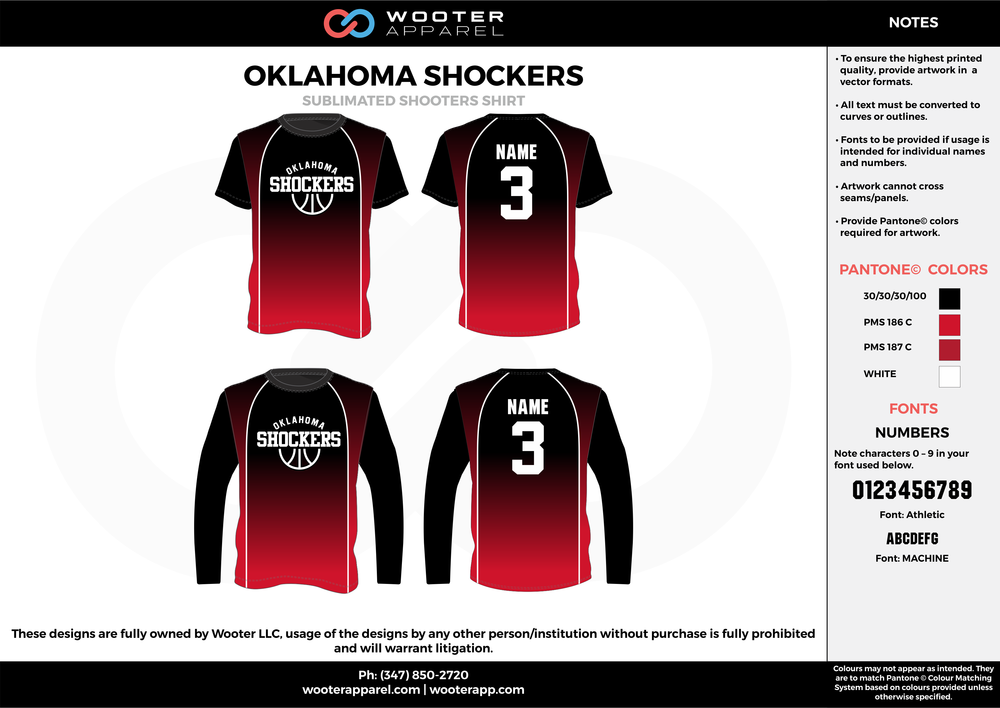 OKLAHOMA SHOCKERS red black white custom long/short sleeve shirts
