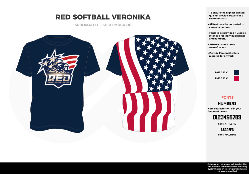 RED SOFTBALL VERONIKA navy blue red white custom short sleeve shirts