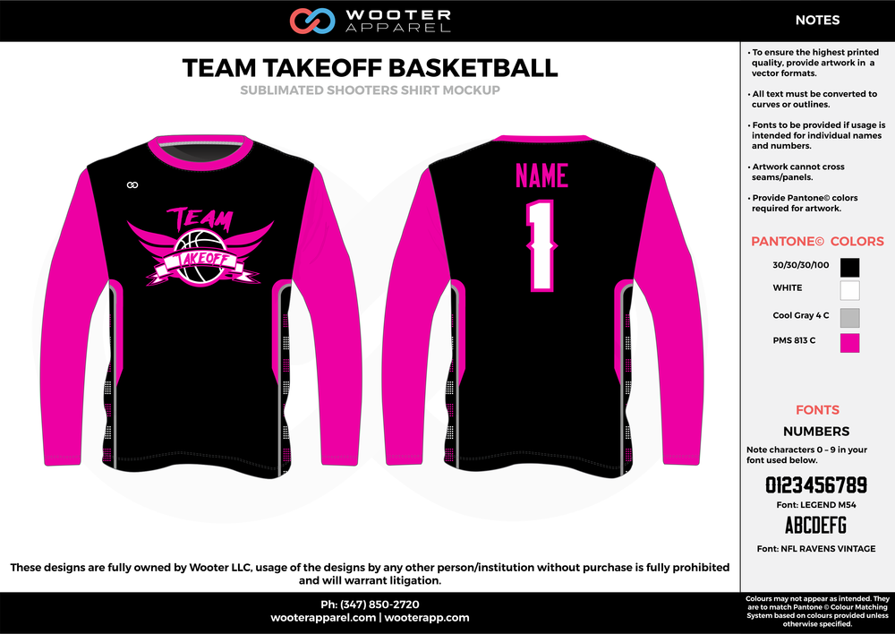 TEAM TAKEOFF BASKETBALL pink black white custom long sleeve shirts